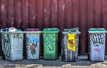 bins with graffiti